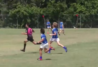 Player runs away with rare middle lineout intercept