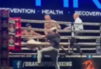 Boxer flattened by savage left hook that leaves him on the canvas