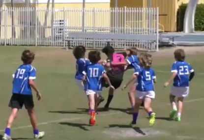 Rugby prodigy shrugs off awkward tackle attempt to score