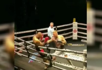 Boxer terrorises opponent with double-knockdown barrage