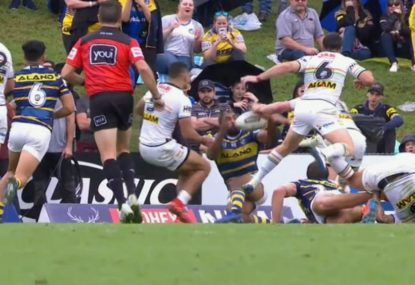Michael Jennings awarded controversial try for Parramatta