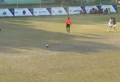 Sand-skidding free kick exposes lazy goalie