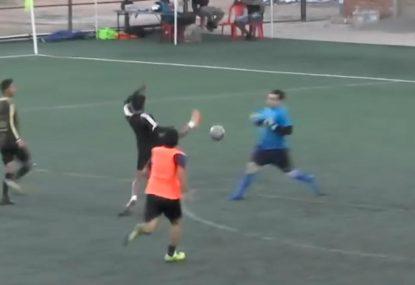 Simultaneous air swings by striker and keeper is bystander's dream