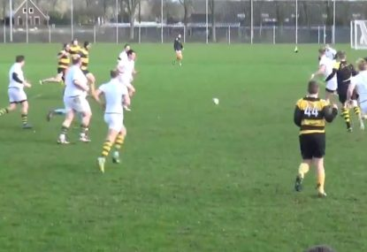 Forward scores ridiculous try in the most bizarre rugby-soccer crossover ever