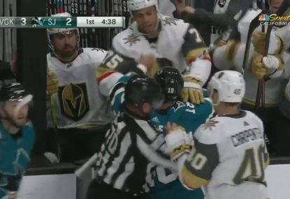 San Jose player pulls rival off the bench to start a fight