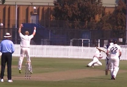 Slips sensational bobbling catch gives bowler a scare