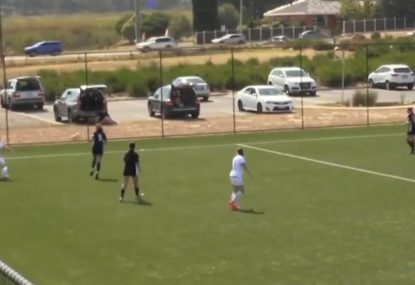 Footballer sinks ridiculous shot from a ludicrous angle