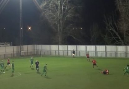 Defenders hilariously embarrassing air-swing gives way to counter-attack goal