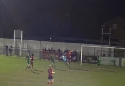 Goalie cops nasty blow from aerial attacker but finds the strength to play on