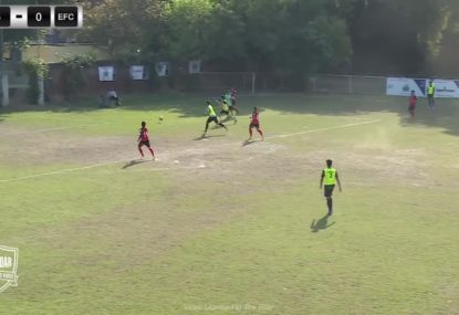 Striker swoops on backline blunder to score slow-mo goal