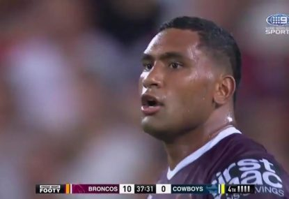 Tevita Pangai lays some huge hits to destroy everything within sight