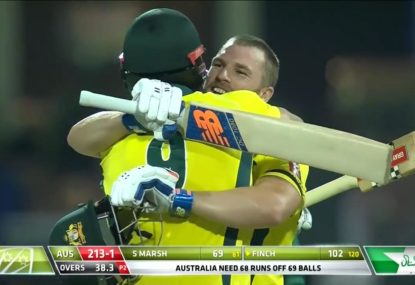 Aaron Finch returns to form with crucial century against Pakistan
