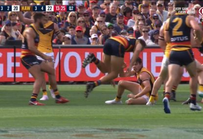 Tragedy strikes for the Crows as young defender suffers serious knee injury