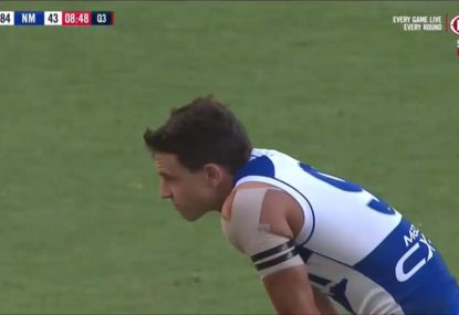 Roos youngster delights Freo crowd with putrid set shot shank