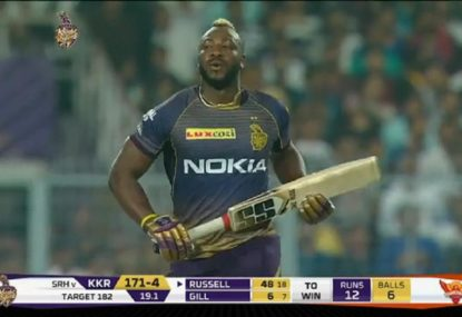 Andre Russell's monster hitting helps chase down 53 from the last 18 balls
