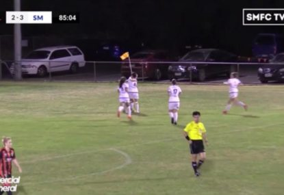 Footballer finds the back of the net from absurdly tight angle