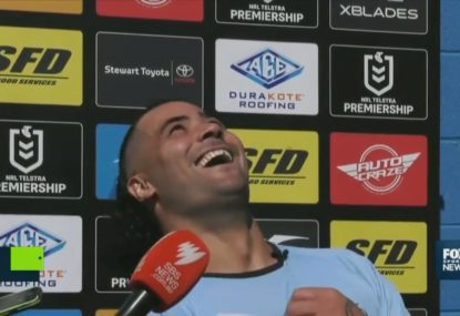 Andrew Fifita ducking for cover after wasp invades press conference