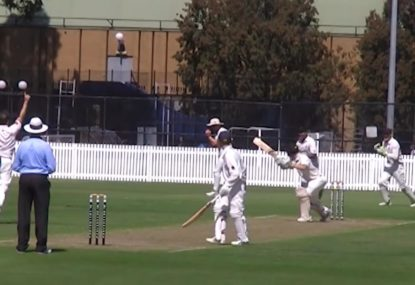Second slip gives everyone a heart attack with juggling catch