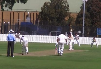 Short-leg grabs a classic one-handed diving catch