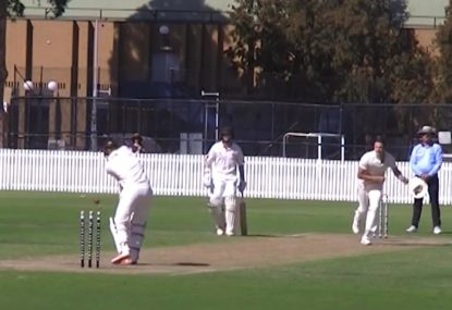 Batsman cops a rare and extremely unlucky toe-end chop-on