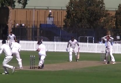 Was this batsman caught out of his crease?
