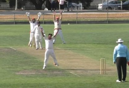 Umpire powerless to resist this crazy windmill star-jump appeal