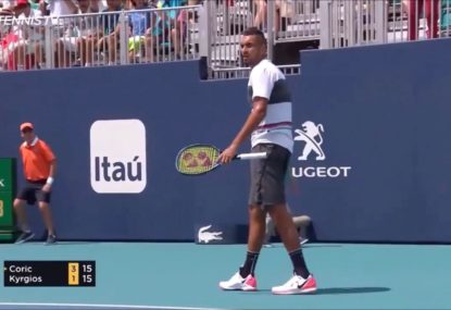 Nick Kyrgios produces unbelievable winner- and smashes a racquet- in Miami loss