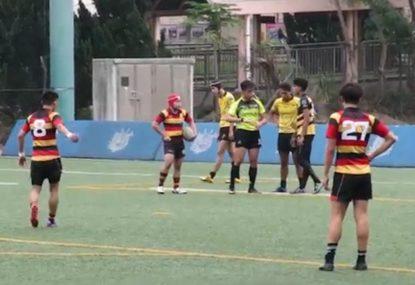 Clothesline tackle sees defender sitting on the sidelines
