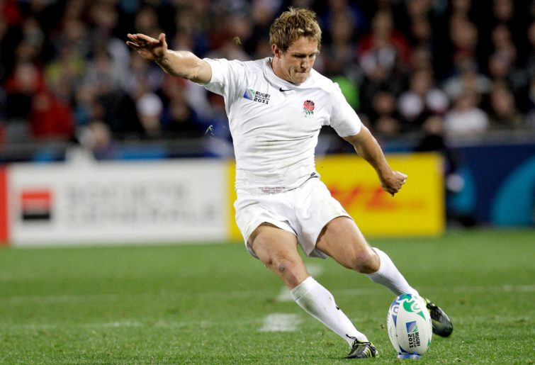England's Jonny Wilkinson takes a penalty shot at goal