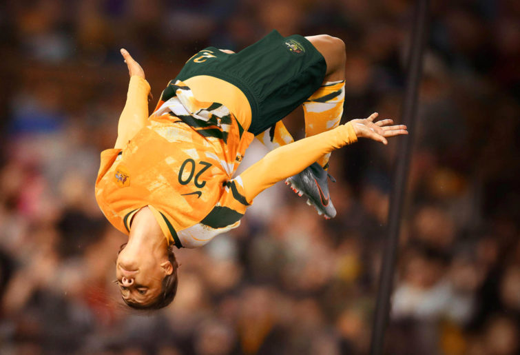 Sam Kerr backflip new Matildas kit