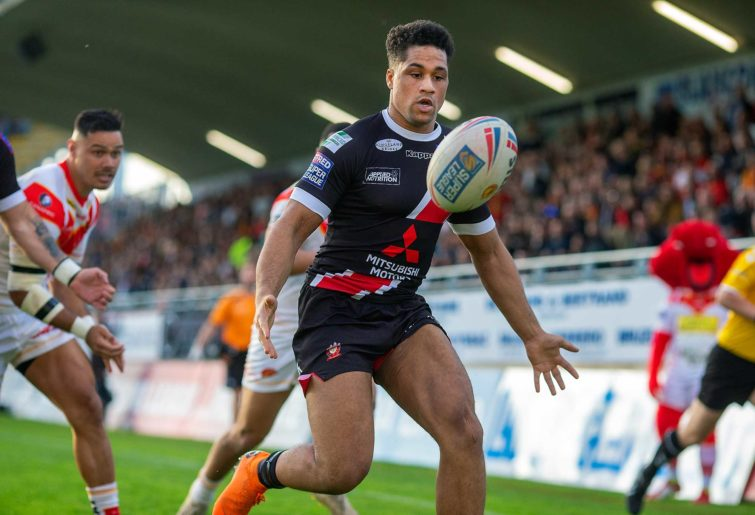 Derrell Olpherts #22 of Salford Red Devils