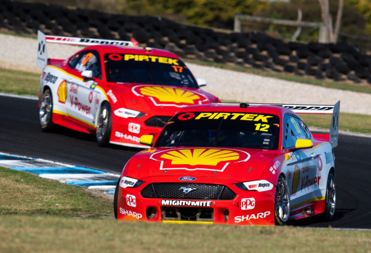 Fabian Coulthard leads Scott McLaughlin.