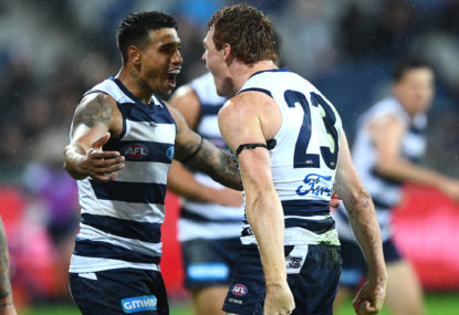 Kangaroos record lowest score in club history as Geelong roll on