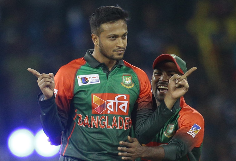 Bangladesh captain Shakib Al Hasan celebrates a wicket