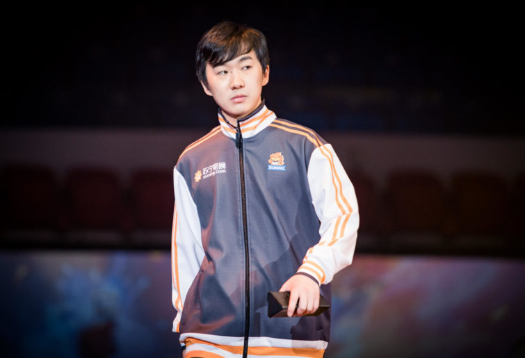 China's SNJing (Guan Zhendong) on the stage at the HCT World Championship in Taiwan.