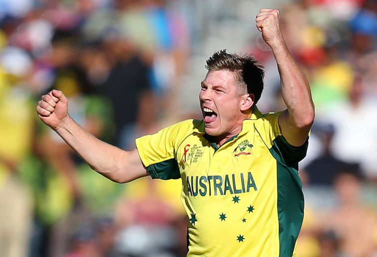 Australia's James Faulkner celebrates taking a wicket