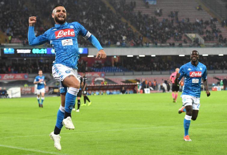 Napoli's forward Lorenzo Insigne celebrates a goal.