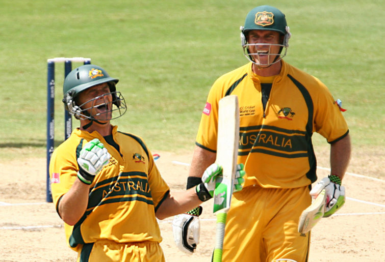 Adam Gilchrist celebrates his century in the 2007 Cricket World Cup final