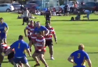 Big boppa gets driven after receiving hospital pass from halfback