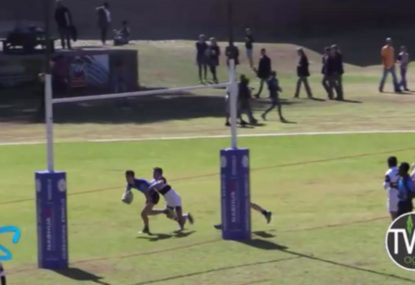 Six players involved in crazy, chaotic kick-chase team try
