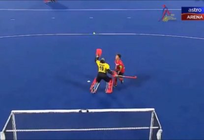 Utterly bonkers 'panenka' penalty goal- in a hockey game?