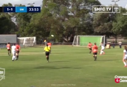 South Melbourne star fires long-range rocket past leaping goalie