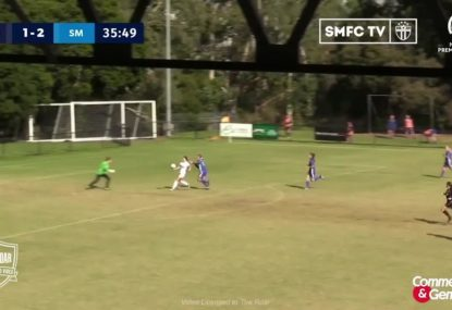 Striker risks life and limb to deliver skilful lob goal