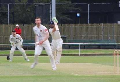 Classy grade cricketer shows he has the BEST straight drive in the game!