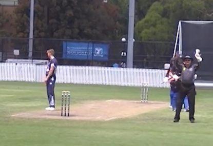 Batsman absolutely SLOGS fast bowler down on one knee
