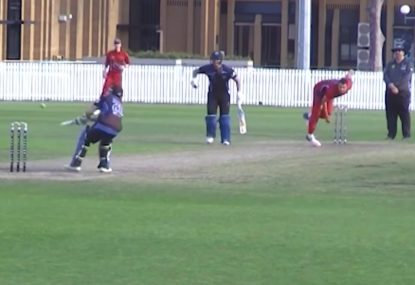 Audacious batsman scoops fast bowler steaming in off the long run