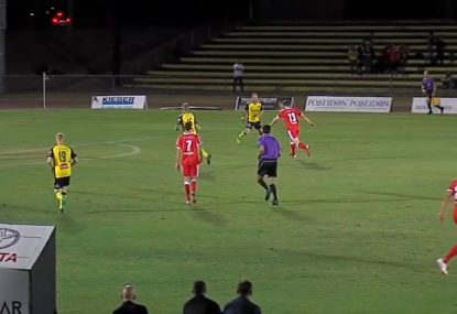 Strikers drives powerful shot snugly into the bottom corner
