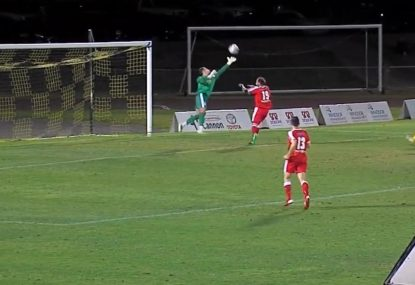 Keeper comes painfully close to diving save, gifts goal instead