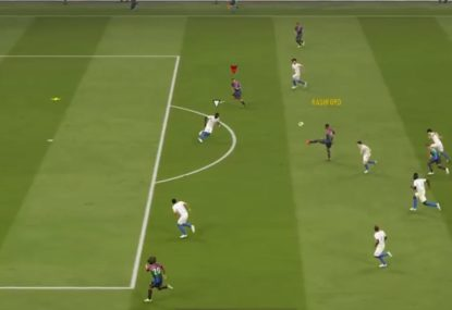 Outrageous length-of-the-field tiki-taka volleying FIFA goal