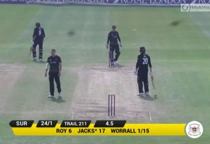 SA paceman Dan Worrall fails to notice he's picked up a wicket